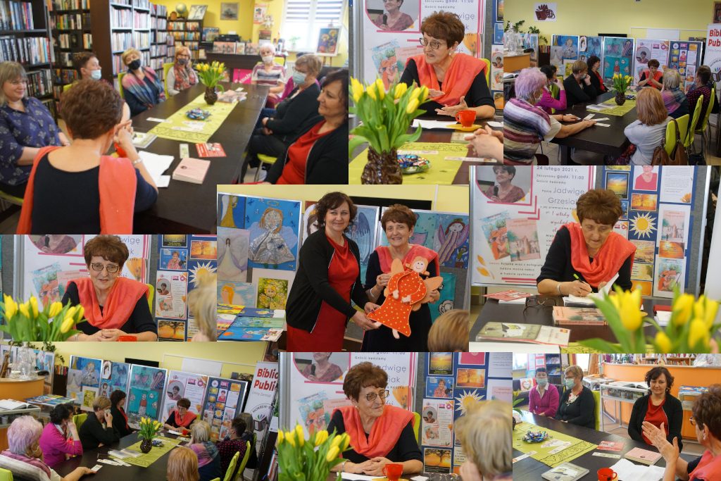 spotkanie autorskie - colage ze zdjęć z Jadwigą Grzesiak