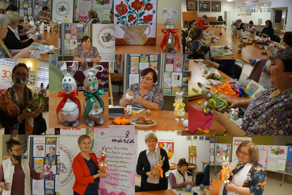 Kolaż ze zdjęć - warsztaty artystyczne w bibliotece pod kierunkiem Pani Haliny Juszczak (wielkanocne zajączki)