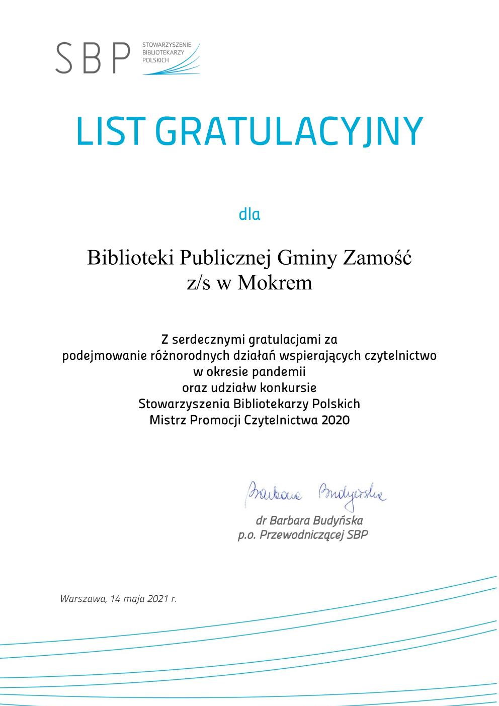 """List Gratulacyiny dla BPGZ z/s w Mokrem za udział w konkursie """"Mistrz Promocji Czytelnictwa"""""""