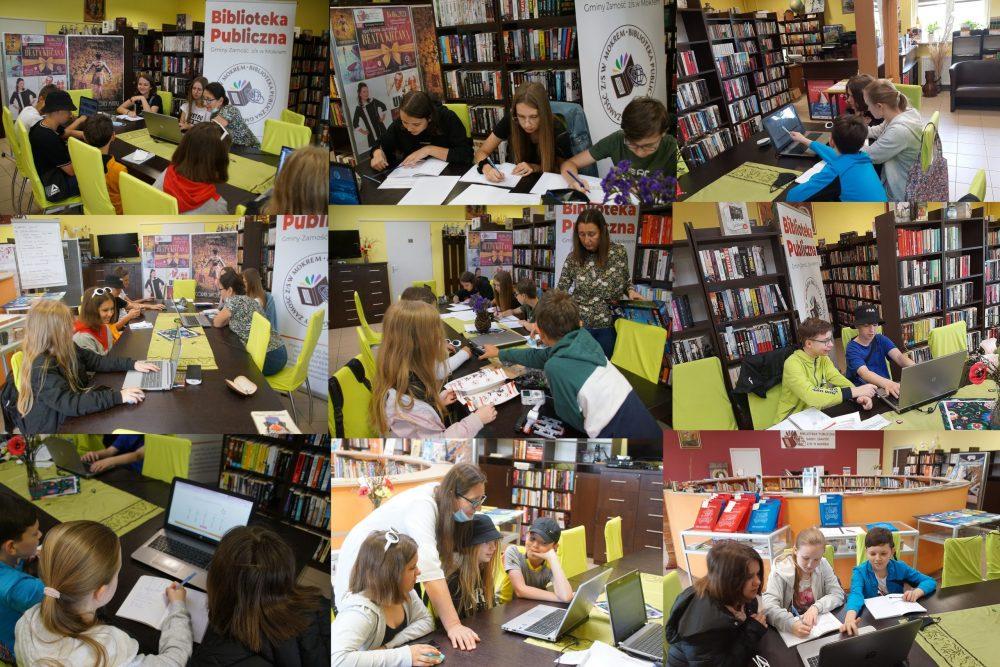 Kolaż ze zdjęć - sobotnie zajęcia w bibliotece - uczniowie SP w Mokrem wspólnie rozwiązują zadania matematyczne i nietylko