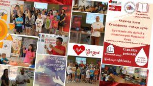 Wakacje z Biblioteką 12 sierpnia 2021 (spotkanie dla dzieci z Honorowymi Dawcami Krwi)